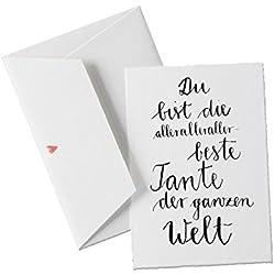 Du bist die allerbeste TANTE der Welt, Spruch Glückwunschkarte Postkarte für die Tante, Geburtstagskarte oder allgemeine Grußkarte als Dankeschön, klassisch mit Herz - Umschlag