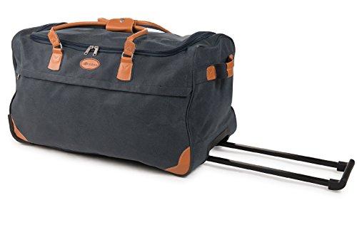 JEMIDI Handgepäck Leder Look Reisetasche 80L Boardcase Trolley Rollen Reisetrolley Reisegepäck Cabin Tasche Bord (Blau 80 Liter Reisetrolley)