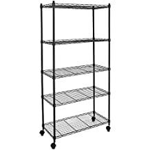 Callas Supreme Height Adjustable 5-Tier Shelving Units Storage Rack with Wheels & Leveling Feet, Black