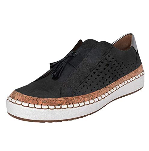 Damen Slip On Sneaker Atmungsaktive Hollow Out Lederschuhe Platform Flache Schuhe Slipper Low-top rutschfeste Loafer Schuhe Lässig Elegant Laufschuhe Freizeitschuhe Gr.35-43 TWBB