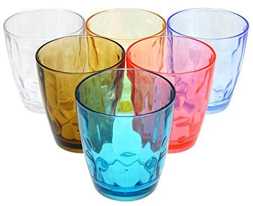 Lawei 6er Pack Trinkgläser Mehrfarbig Bruchsicher Kunststoffbecher für Camping Restaurant Strand Party, 400 ml