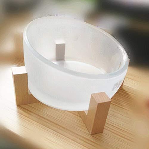 Yocc ciotola per gatti in vetro, vetro borosilicato alto/processo di glassatura/grande capacità 750ml / design per pendenza simplicity water bowl pet bowl telaio in legno,bowl+solidwoodbracket