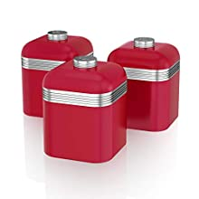 Swan Retro Kitchen Storage Canisters, Iron, Red, Set of 3