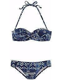 lascana plancha de Bandeau de bikini, marine gemustert, 40B