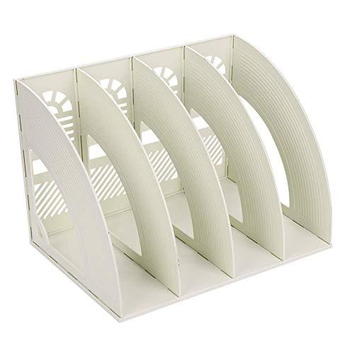 Sayeec Schreibtisch-Organizer, Zeitschriften-Halter, für Dokumente, stabil, aus Kunststoff, 4 Fächer, Magazin-Halter, Schrank, zur Aufbewahrung und Präsentation, Organizer-Box, Beige -