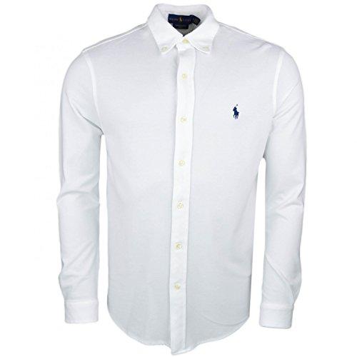 Ralph lauren polo camicia uomo in piquet di cotone 710-704247 (l, 009 white)