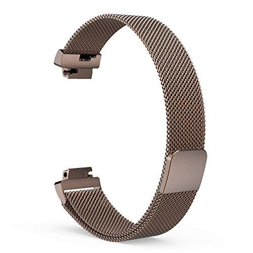Preisvergleich Produktbild EEweca Milanaise-Schlaufe für Fitbit Inspire oder Inspire HR Ersatzbänder Metall Armband Strap mit Magnetverschluss - Small Size: 5.5-9.5 - Coffee