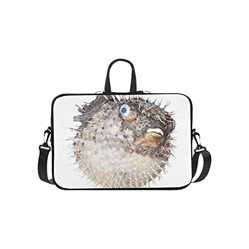 Stachelige Fische und Delphine Muster Aktentasche Laptoptasche Messenger Schulter Arbeitstasche Crossbody Handtasche für Geschäftsreisen