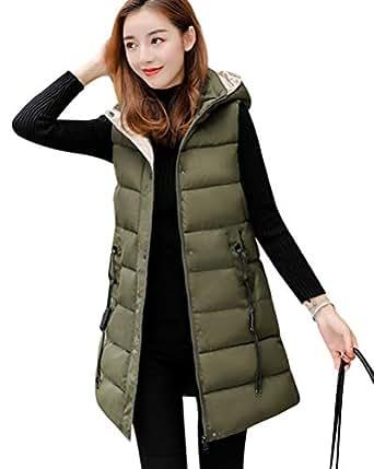 9b59f5f0c06e1c Damen Weste Lang Mantel Outwear Ärmellose mit Kapuze Steppweste  Wintermantel Vest: Amazon.de: Bekleidung