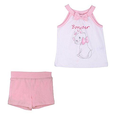 Disney Niñas, Infantil, Bebé Marie Conjunto, Top y Pantalones Cortos, Rosa