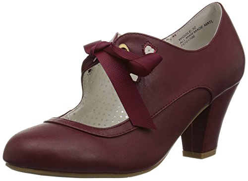 Pin Up Couture WIGGLE-32 Burgundy Faux Leather UK 5 (EU 38)