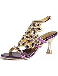 QPYC Ladies Openwork Rhinestone Shoes Sandals Fine Heel Diamond Crystal High Heels Large Size Buckle Sandals 43 44