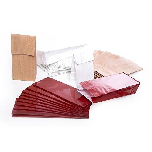 SET: 3 x 10 Papiertüten rot braun natur weiß mit Pergamin-Einlage 7 x 4 x 20,5 cm Tüten für Plätzchen Pralinen Kaffee Tee Fettendes Feingemahlenes Teetüten Gewürze lebensmittel-echt