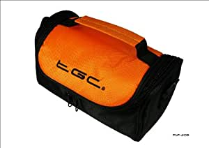 Hot Orange & Black Carry Case Bag for Panasonic HX-WA20 Active HD Camcorder