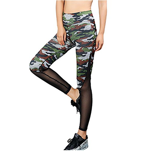 Morbuy Damen Leggings Sporthose, Sport Gym Yoga Workout Pants Basic Fitness Hohe Taille Jogginghose Trainingshose Skinny Hosen Hose Camouflage Stitching Perspektive schwarz (XL) - Workout Hose Asics