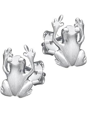 Vinani Damen-Ohrstecker Frosch mattiert Sterling Silber 925 Ohrringe OFR