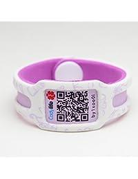 Pulsera identificativa Codylife KIDS. Brazalete de goma eva dotado con código QR y espacios en blanco para escribir datos con rotulador permanente. (Blanco/Morado, MINI (contorno 13 cm))