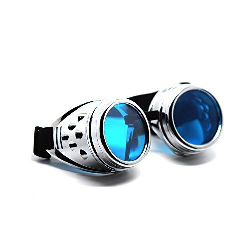 UltraByEasyPeasyStore Ultra Silber mit Blauen Linsen Steampunk Brille Gläsern Cyber Viktorianischer Punk Schweißen Cosplay Goth Round Niet Vintage Rave Neuhei