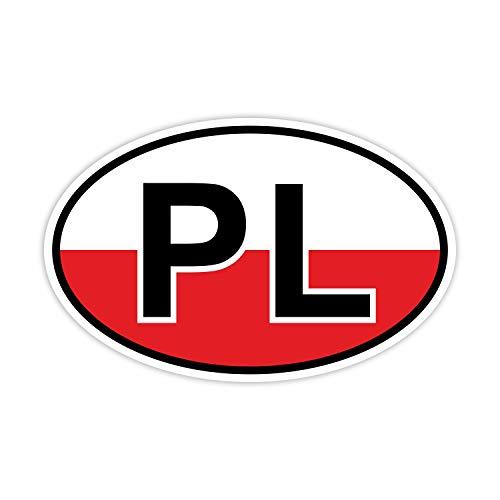 easydruck24de Auto-Aufkleber Länderkennzeichen Polen farbig I kfz_221 I 14,5 x 9 cm I Sticker Fan-Artikel Produkt Flagge Fahne Fahrzeug-Aufkleber