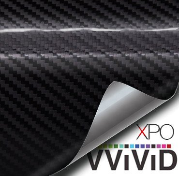 Black carbon gloss Tech Art 12in x 60in 3 layer 3D (not printed) realistic True carbon fiber look cast vinyl wrap for car, boat, bike VViViD XPO by VViViD