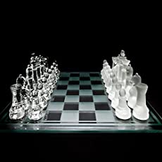 Krevia Mind Game Amazing Glass Chess Set Featuring Frosted And Clear Glass Pieces And Glass Board