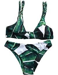 LHWY Las Mujeres Bikiní Hojas Para Trajes De Baño Push-Up Traje De Cuerda Verde