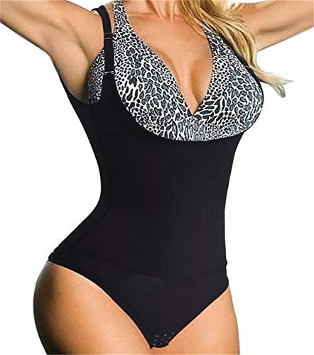 Chumian Donna Body Snellente Contenitivo Aperto Busto Shapewear Corsetto Bustino Shaper Intimo Modellante (Nero, XXX-Large)