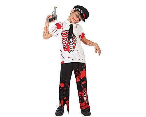 Atosa 22772 - Zombie Polizist Kostüm, Größe 140, weiß/schwarz