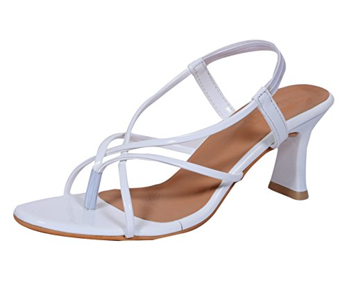 Indiweaves Womens Fashionable & Stylish Party Wear Casual and Formal High Heel Sandals for Women--White-Size-6