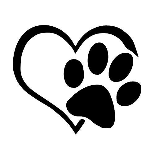Wandtattoos & Wandbilder Baumarkt,VRTYOC Pet Paw Print mit Herz Hund Katze Vinyl Aufkleber Autofenster Autoaufkleber