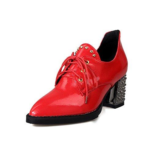 AgooLar Damen Schnüren PU Mittler Absatz Rein Pumps Schuhe, Silber, 33