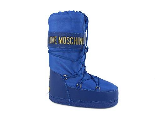 LOVE MOSCHINO moon boot doposci donna neve sci TESSUTO BLUETTE BLU 42