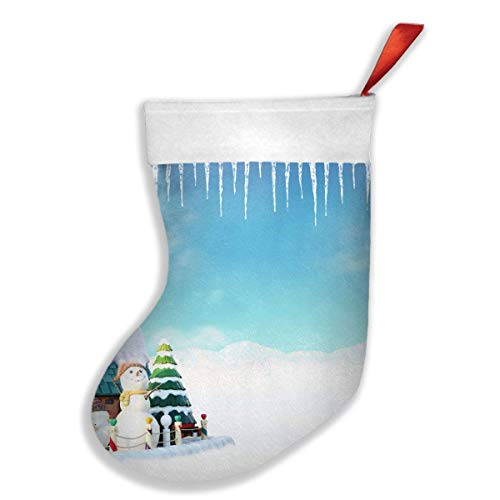 Voxpkrs Christmas Snow Icicle White Snowman Blue 20 18 Inch Weihnachtsstrumpfs Xmas Socks Ornament Themed Luxury Glam Trendy Creative Matching Fireplace Outdoors - Outdoor Icicle