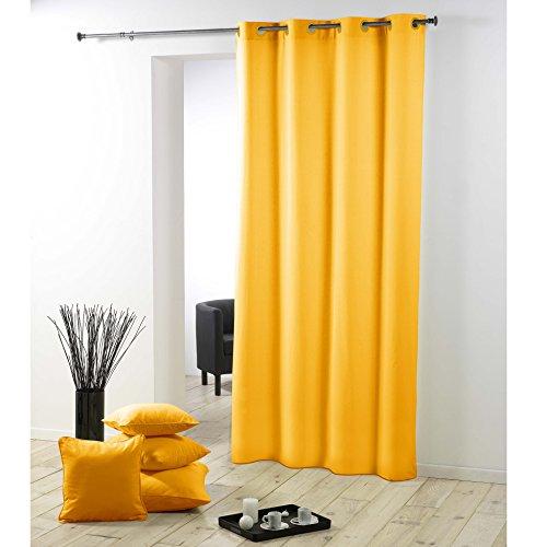 Douceur d'intérieur tenda con occhielli, essenziale, in plastica e poliestere, colore giallo, ceramica, giallo, 140x2x260 cm