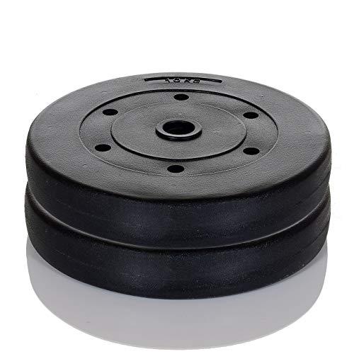 LCP Sports 20 kg Gewichte Set a 4 x 5 kg Hantelscheiben 30-31 mm Bohrung Hart-Kunststoff - Set Gewicht 7 Olympische