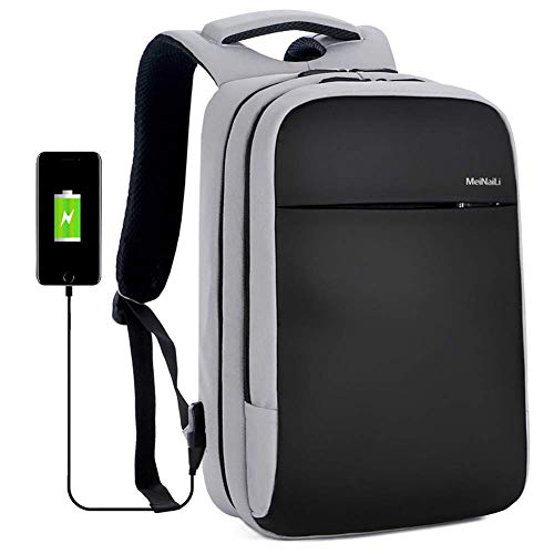 LIEOAGB Business Rucksack 15,6 Zoll Laptop Wasserdichter Rucksack mit USB-Ladeanschluss Leichter Reisetagesrucksack für Reisen/College/Männer/Frauen Arbeitspaket-darkgrey-onesize -