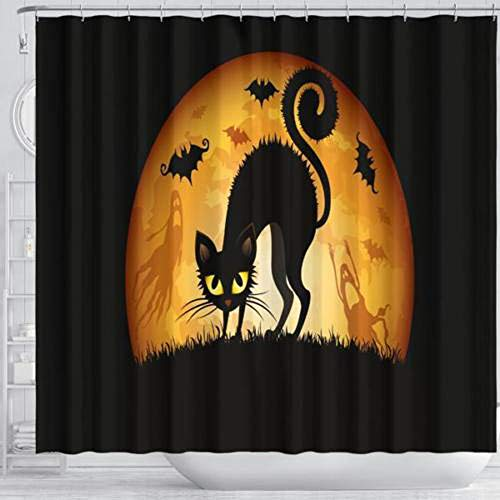HLCE Halloween Duschvorhang Dekorationen Schwarze Katze Full Moon Fledermaus Lebendige waschbar wasserdicht Zwei Größe (größe : S) (Disfraz Halloween Payaso)