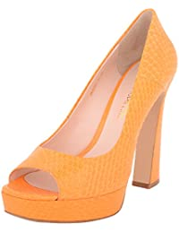 Vincenzio Robertina Women's Orange Leather Platform Heels