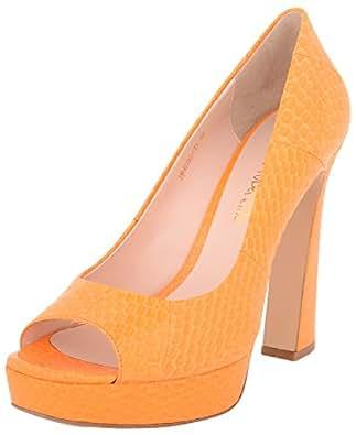 Vincenzio Robertina Women's Orange Leather Platform Heels- 39