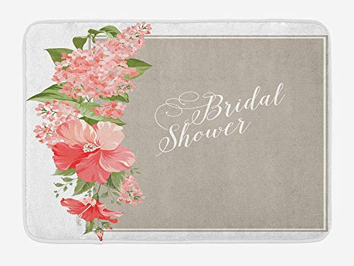 JIEKEIO Bridal Shower Bath Mat, Lilacs Orchids with Leaves Corner Frame Bride Floral Arrangement, Plush Bathroom Decor Mat with Non Slip Backing, 23.6 W X 15.7 W Inches, Salmon Green and Beige