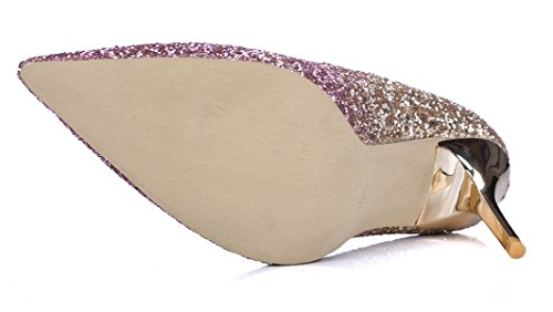 HooH Femmes Escarpins Pointu Paillettes Gradient Talon haut 9.5 CM mariage Escarpins Slip On Violet Or