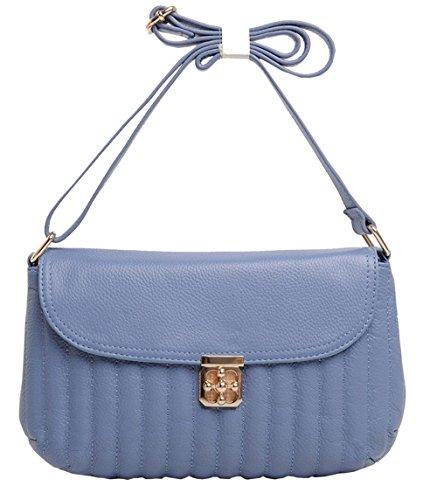 SAIERLONG Neues Damen Blau Rindleder-Echtes Leder Schultertaschen Messenger Bag Blau
