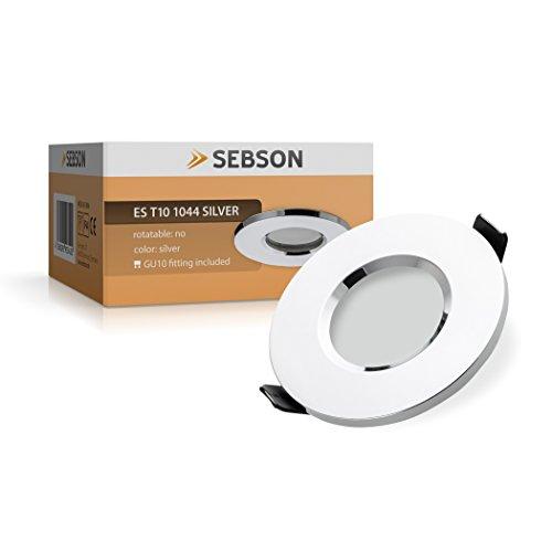 Sebson® Spot Encastrable, Type 10, Chrome, Ip44, Aluminium, Led / Halogene, Incl. Culot Gu10