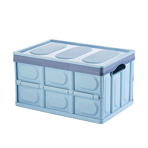 HRYP Space-Saving Folding Plastic Storage Box - Detachable/55Liter Capacity Storage File with Additional Cover/Home/Car/Office/Outdoor/Grocery/Sports/Garage/BlackBeigeGreenBlue-Blue (Garage Storage-boxen)