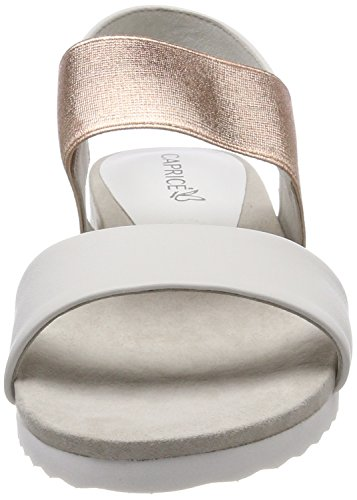 Caprice Damen 28608 Slingback Sandalen Weiß (White/Rosegold 118)