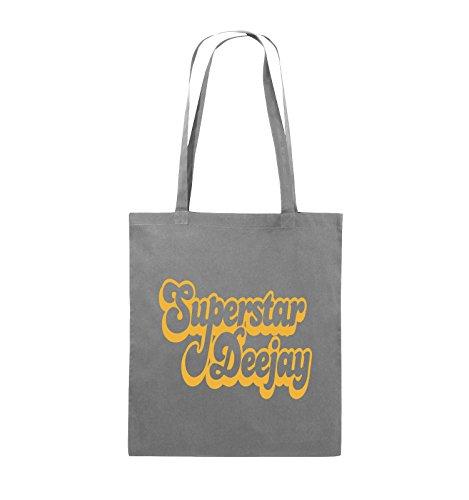 Comedy Bags - Superstar Deejay - Jutebeutel - lange Henkel - 38x42cm - Farbe: Schwarz / Pink Dunkelgrau / Gelb