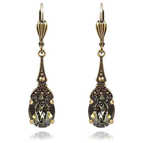Jugendstil Ohrringe mit Kristallen von Swarovski Gold Grau NOBEL SCHMUCK