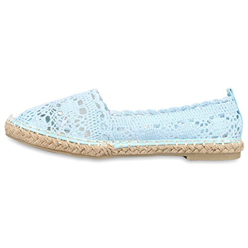 Damen Espadrilles Glitzer Bast Slipper Cut-outs Schuhe Hellblau Spitze
