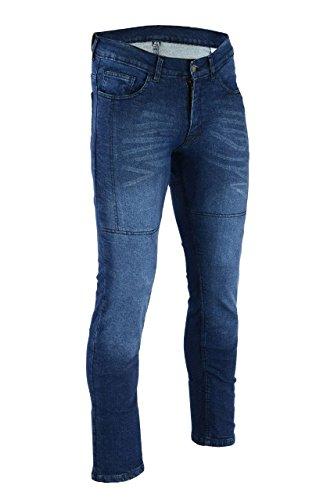 BIKERS GEAR - Pantalones vaqueros de moto lavados y elásticos descoloridos CE...