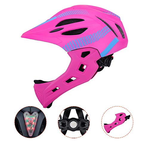BLLJQ Casco Cycling per Bambini, Casco Integrale, con Mento Staccabile Traspirante for Bici MTB BMX Climbing (Rosa)